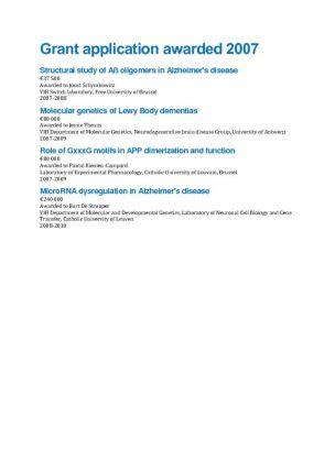 thumbnail of Grant application awarded 2007